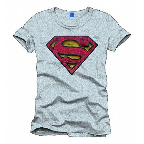 Superman - Used Logo Relief Herren T-Shirt - Grau - Größe X-Large