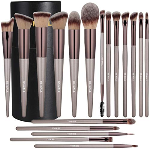 BS-MALL Makeup Brush Set 18 Pcs Premium Synthetic Foundation Powder Concealers Eye shadows Blush Makeup Brushes Champagne Gold Cosmetic Brushes (The Best Drugstore Foundation 2019)