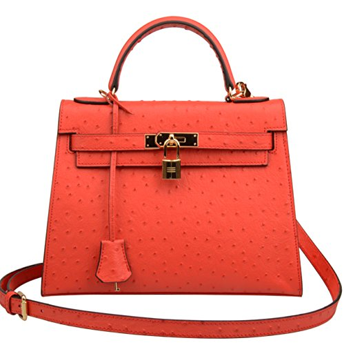 Ainifeel Genuine Padlock Shoulder Leather Red Purse Embossed Hobo Women's Bag Handbag Ostrich BxX5wr6Bq