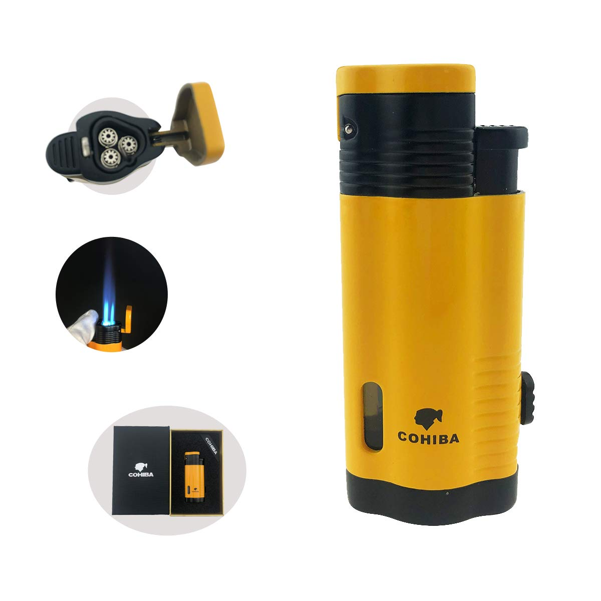 Cohiba Cigar Lighter 3 Torch Jet Flame with Punch Windproof Butane Fuel Lighter Refillable Inflatable(Without Gas) (Yellow)