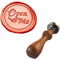 MDLG Vintage Open Me Fancy Script Custom Christmas Gift Wedding Invitation Wax Seal Sealing Stamp Rosewood Handle Set