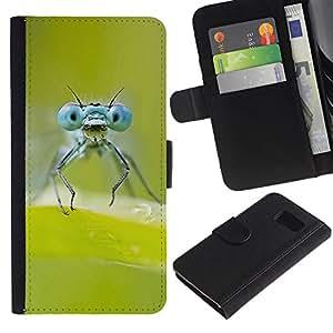 YiPhone /// Tirón de la caja Cartera de cuero con ranuras para tarjetas - Verde de insectos - Samsung Galaxy S6