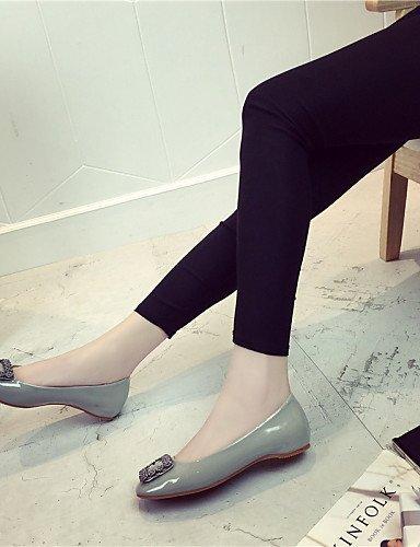 Grigio Chiusa Borgogna gray Finta Punta squadrata Ballerine Ballerina Formale pelle Donna ShangYi Piatto Scarpe Nero Wq60Owx7Wa