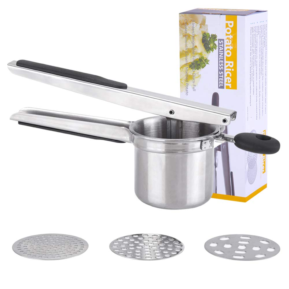 Latauar Premium Stainless Steel Potato Ricer Set with 3 Ricing Discs (Fine, Medium, Coarse) - Manual Masher, Baby Food Strainer, and Food Press with Ergonomic Comfort Grip. Dishwasher Safe by Latauar