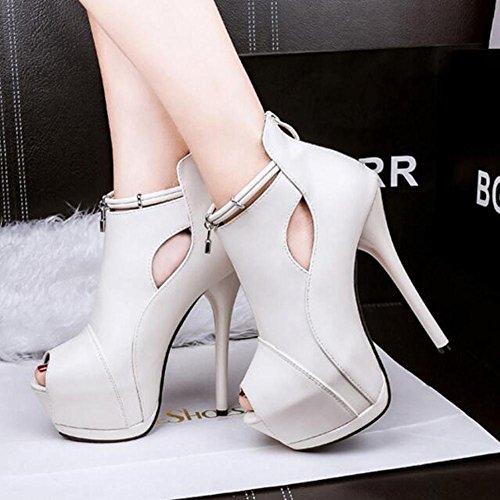 White Women Nightclub Mouth Heels Platform Fine 14cm Hollow High Waterproof Fish Sandals SSwg4qBP