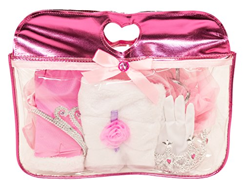 (MMP Living Girls Princess Dress up Set: Deluxe Princess Accessories with Shimmer Tote Bag Including Tiara, Crown, Faux Fur Stole, Tutus, Short Gloves and Evening Length Gloves with Accents)