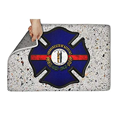 "HCddakse Outdoor Welcome Doormat 31""x19"" Rectangular Non-Slip Waterproof Easy Clean Kentucky Firefighter Kentucky Flag Modern Decorative Back Living Door Mats"