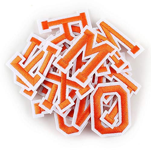 Letter Iron On Patches Sew On Appliques with Ironed Adhesive Orange Embroidered Decorative Repair Patches for Shoes Hat Bag Clothing(26PCS Alphabet Letters Set) ()