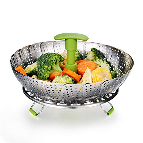 Vegetable Insert - Vegetable Steamer Basket Stainless Steel Food Steamer Veggie Steamer Insert with Extendable Handle, Cooking Steamer Expandable to Fit Various Size Pot (7