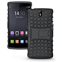 JKase DIABLO Tough Rugged Dual Layer Protection Case Cover with Build in Stand for OnePlus One - Retail Packaging (Black)