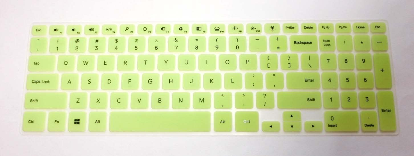 """BingoBuy Semi-Green Backlit Ultra thin Silicone Keyboard Protector Skin Cover for 15.6'' Dell Inspiron 15-7537, i7537T, i7537T-3342sLV, i7537T-1121sLV, i7537T-4340sLV (if your """"enter"""" key looks like """"7"""", our skin can't fit) with BingoBuy Card Case for Credit, Bank, ID Card"""