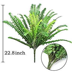 "Beebel 22.8"" Artificial Boston Fern Artificial Plants Silk Hanging Plant Faux Shrubs Greenery Bushes for Wedding Office Indoor Outdoor Decor 39 Leaves 2"