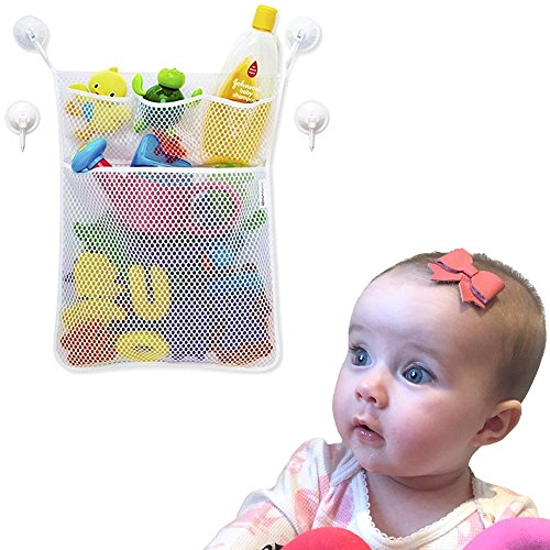 Vagabond Baby Bath Toy Organizer - Large Mesh Net 14x20 Quick Dry for Bathtub - Bath Toy Storage + 3 Soap Pockets - 4x Suction Hooks & 3M Stickers for stronger hold - Perfect for Children