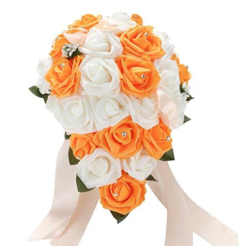Vlovelife Wedding Bouquet Mix White & Orange PE Rose Flowers Bridal Bridesmaid Bouquets Artificial Flower Satin Ribbon Decor Handmade Posy Pearl Rhinestone Plant Leaf Vine - Bridal Orange Bouquet