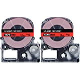 "Absonic Tape Cassette LC-4RBP9 Replacement for EPSON LW-300 LW-400 LW-500 LW-600P LM-700 LW-900P LW-1000P Label Maker (1/2"" x 26', 12mm x 8m, Black on Red) - 2 Pack"