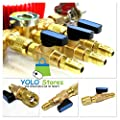 "3pc HVAC A/C Straight SHUT-OFF Ball Valve Adapter For R134a R22 R12 R410a 1/4"" by YOLO Stores"