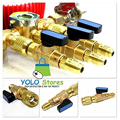 """3pc HVAC A/C Straight SHUT-OFF Ball Valve Adapter For R134a R22 R12 R410a 1/4"""" by YOLO Stores"""