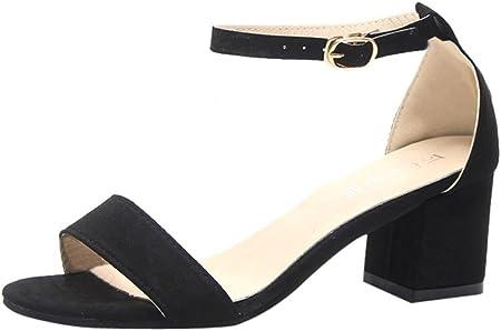 Zapatos de tacón Altas Ancho para Mujer Verano 2018 PAOLIAN Fiesta Zapatos de Plataforma de Boca de Pescado Moda Cuña Sandalias de Vestir con Hebilla Tira de Tobillo Clásicos Boda