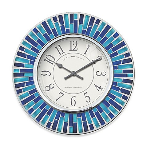 "FirsTime Mosaic Wall Clock in Blue Glass Tiles Surround a Chrome Bezel and White Face. Measures 11.5"" diameter x 1.5"" D"