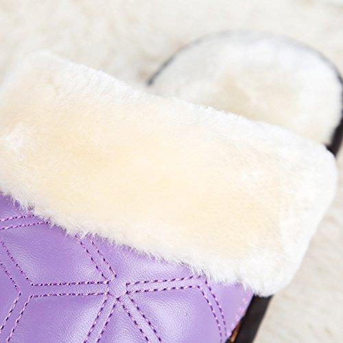 Pantoufles Décontractées Pour Femmes En Automne Et En Hiver L'intérieur En Cuir Synthétique Rembourré Chaud, Violet, 37