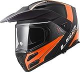 LS2 Helmets Metro V3 Rapid Hi Viz Orange Unisex-Adult Flip-Up-Helmet-Style Motorcycle Helmet (Matte Black, XXX-Large)