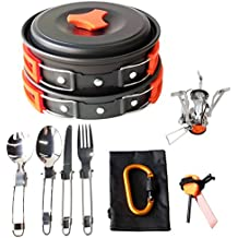 Gold Armour 17Pcs Camping Cookware Mess Kit (4 COLORS: GREEN, ORANGE, BLACK, BLUE) Backpacking Gear & Hiking Outdoors Bug Out Bag Cooking Equipment Cookset | Lightweight & Durable Pot Pan Bowls