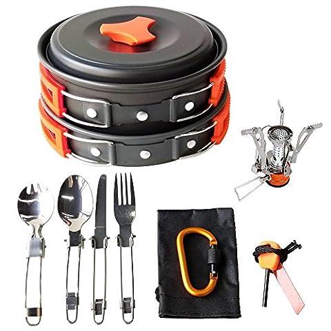 17Pcs Camping Cookware Mess Kit Backpacking Gear & Hiking Outdoors Bug Out Bag Cooking Equipment Cookset | Lightweight, Compact, & Durable Pot Pan Bowls - Outdoor Gear