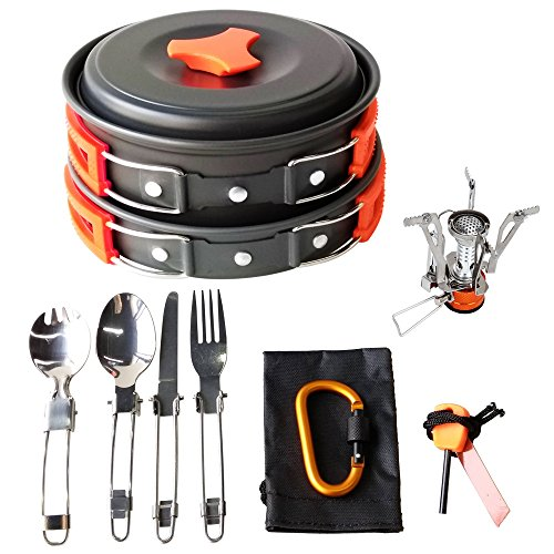 17Pcs Camping Cookware Mess Kit Backpacking Gear & Hiking Outdoors Bug Out Bag Cooking Equipment Cookset | Lightweight, Compact, & Durable Pot Pan Bowls (Orange) (Free Iron Cast Stove Gas)