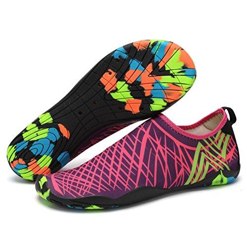 Lxso Men Women Water Shoes Multifunctional Quick-Dry Aqua Shoes Lightweight Swim Shoes With Drainage Hole (5.5US-women/4US-men=EU/FR 36, Rose)