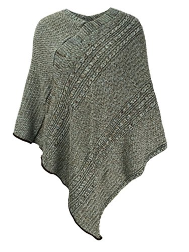 75% Recycled Cotton - Green 3 Cable Knit Poncho (Light Turquoise Space Dye) - Womens Recycled Cotton Sweater Knit Wrap, Made in The USA (One Size)