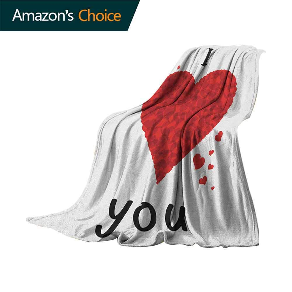 I Love You Velvet Touch Ultra Plush,Valentines Bouquet Shape Abstract Heart My Dear Friendship Affection Theme Microfiber All Season Blanket for Bed or Couch Multicolor,50'' Wx70 L Red White