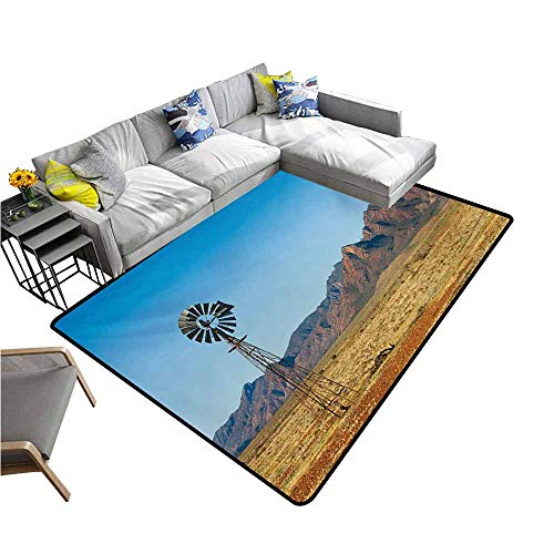 Floor Mat Entrance Doormat Windmill,Flinders Ranges South Australia Mountains Barren Land Summer,Earth Yellow and Pale Blue 64