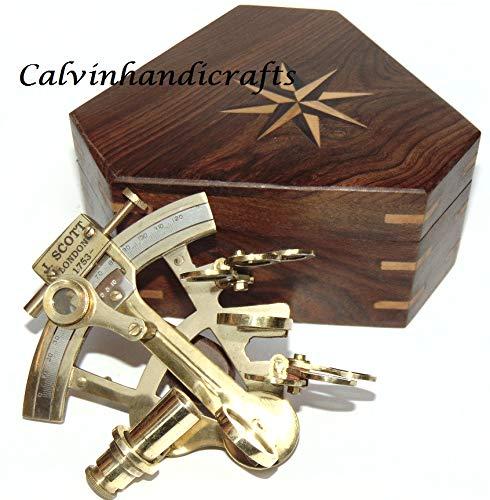 (Calvin Antique Brass Navigation Instrument Nautical Sextant / 4