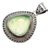 "Prehnite 925 Sterling Silver Pendant 1 7/8"" - Handmade Jewelry PD607315"