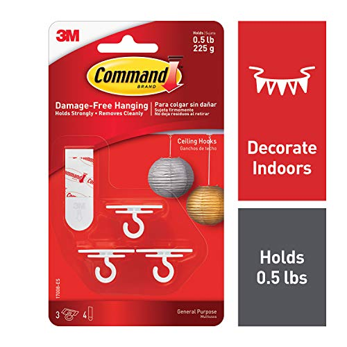 Command 17008-ES Ceiling 3 Hooks, 4 Foam Strips per, White, 4 Packs -
