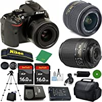 Nikon D5200 - International Version (No Warranty), 18-55mm f/3.5-5.6 DX VR, Nikon 55-200mm f4-5.6G ED DX Nikkor, 2pcs 16GB Memory, Camera Case