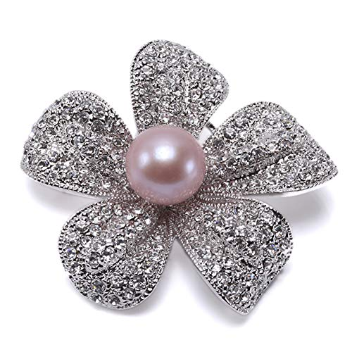 (JYX Pearl Brooch Bright Zircon Flower Brooch with 13mm Lavender Edison Pearl)