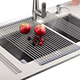 EMBATHER - Sturdy Extra Large Multipurpose -No Occupying Space Easily Store Heat Resistant Roll Up Dish Drying Rack - Fit for Stainless Steel Sink (20.8'' x 18.1'',Warm Gray)