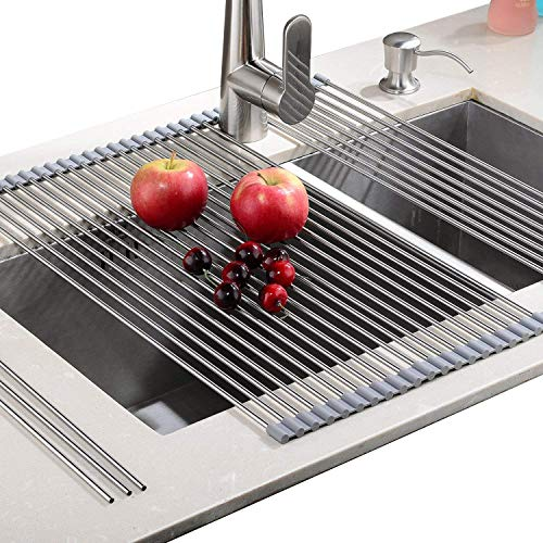 EMBATHER - Sturdy Extra Large Multipurpose -No Occupying Space Easily Store Heat Resistant Roll Up Dish Drying Rack - Fit for Stainless Steel Sink (20.8