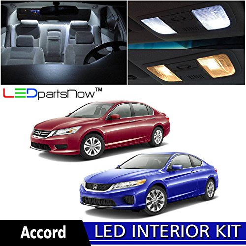 LEDpartsNow 2013-2018 Honda Accord LED Interior Lights Accessories Replacement Package Kit (8 Pieces), WHITE Honda Accord Sport Coupe