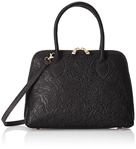 CTM bolso de mano para mujer con fantasia floral, clutch de piel genuina y suave hecho en Italia - 32x23x10 Cm Negro (Nero)