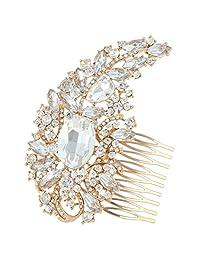 Ever Faith 4.5 Inch Wedding Flower Leaf Hair Comb Clear Austrian Crystal