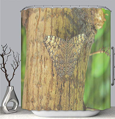 BEICICI Color Shower Curtain Liner Anti-Mildew Antibacterial, Camouflaged Butterfly on a Tree Multi-Color,Custom Shower Curtain Bathtub Bathroom Accessories.