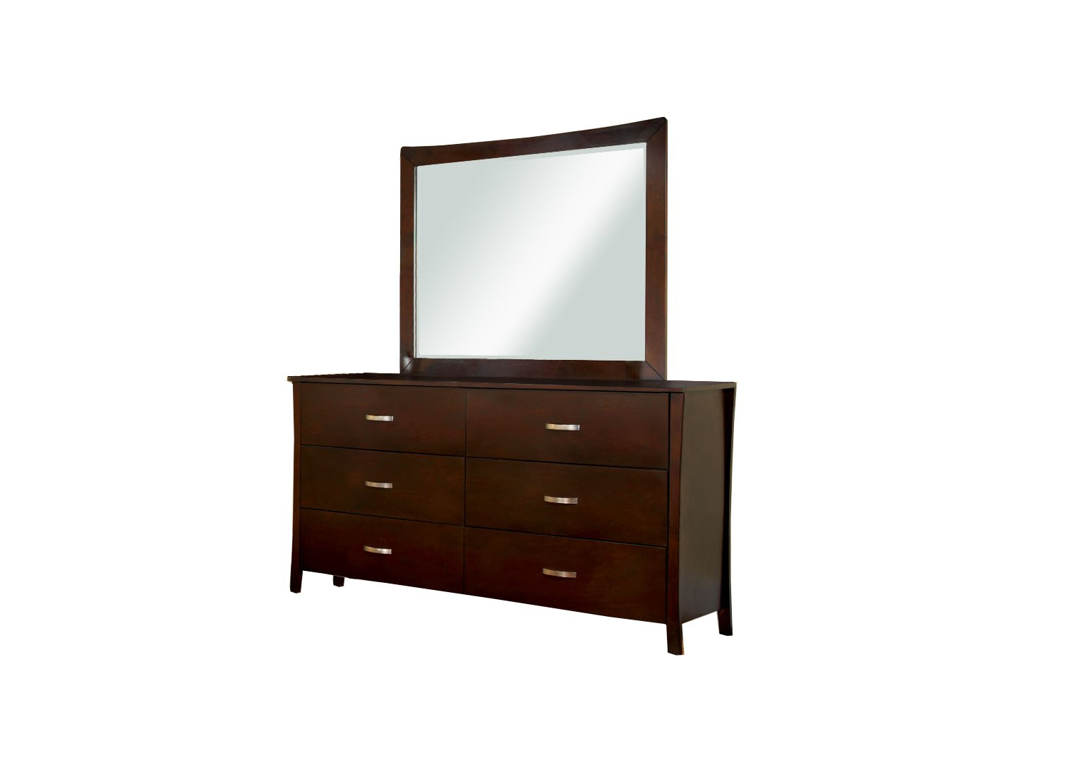 Furniture of America Bex 2-Piece Dresser and Mirror Set, Brown Cherry Finish by Furniture of America