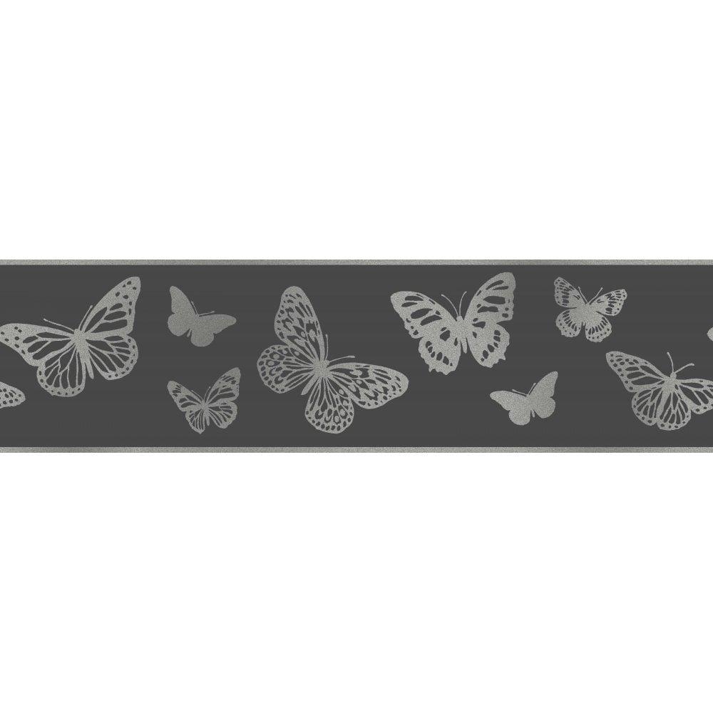 Fine Decor Glitz Glitter Sparkle Butterflies Silver Wallpaper Border