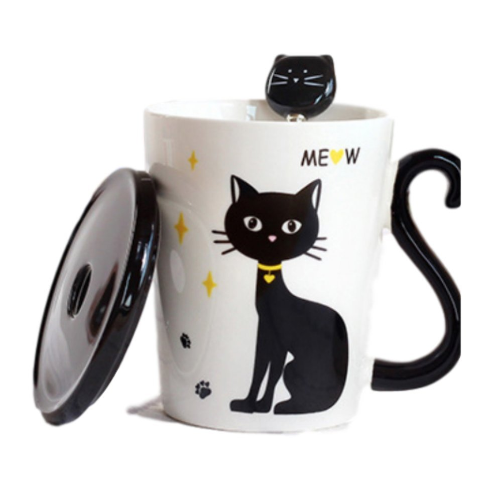 Cat Lover's Tail Handle Coffee Mug with Cover and Stainless Steel Cat Head Teaspoon (Yellow Collar Cat)