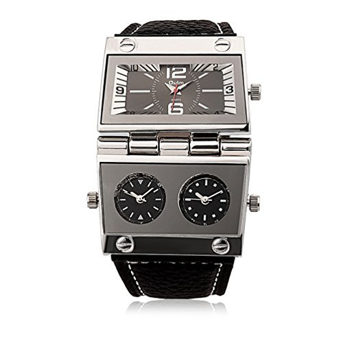 Men's Unique Military Automatic Watches Multi Time Zone Big Face Watches with Square Dial, Genuine Leather Band - Black (Mens Watch Big Square Automatic)