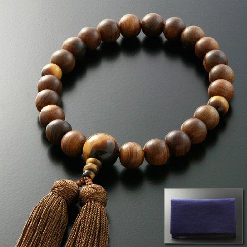 京仏壇はやし 数珠 男性用 正絹 みやこ房 栴檀 ( 素挽き ) 虎目石仕立て ( 男性用 ) [ タイガーアイ ] 【 数珠袋セット 】 M-021 京都 念珠 ※この念珠はすべての宗派でお使いいただけます B00H5I2JOU