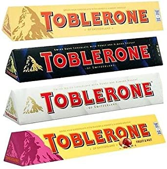 Toblerone Ultimate 4 Pack - 360g Each - Milk Chocolate, Fruit & Nut, White Chocolate & Dark Chocolate