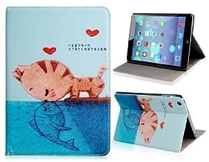 Cute Cat Kissing Fish Print TPU Rubber Case for iPad Mini (Blue)